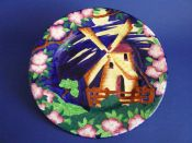 Maling Embossed Blue 'Windmill' Wall Plaque c1936